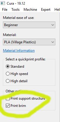 The Print Brim Option in Cura