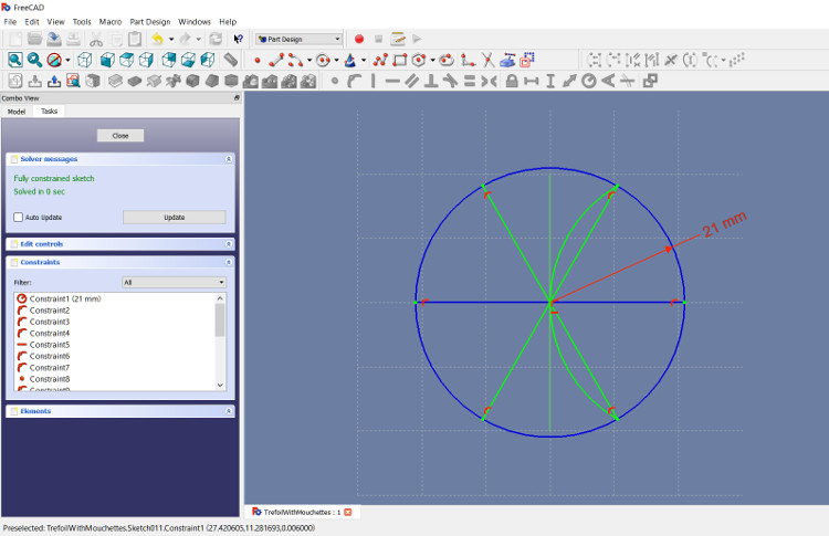 Cut a circle into 6 equal parts