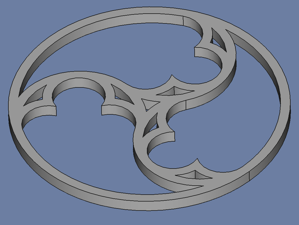 The design, extruded to a 3D shape
