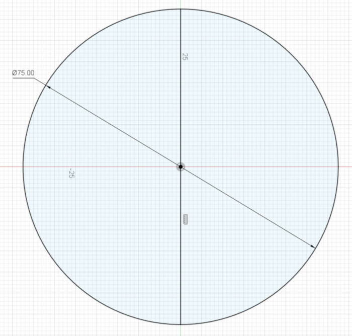 A circle and vertical line