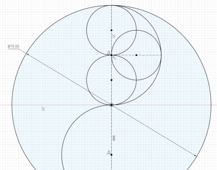 Three equal, overlapping circles inside the semicircle