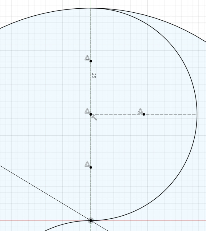 Bisecting the lines to find the centers of the arcs