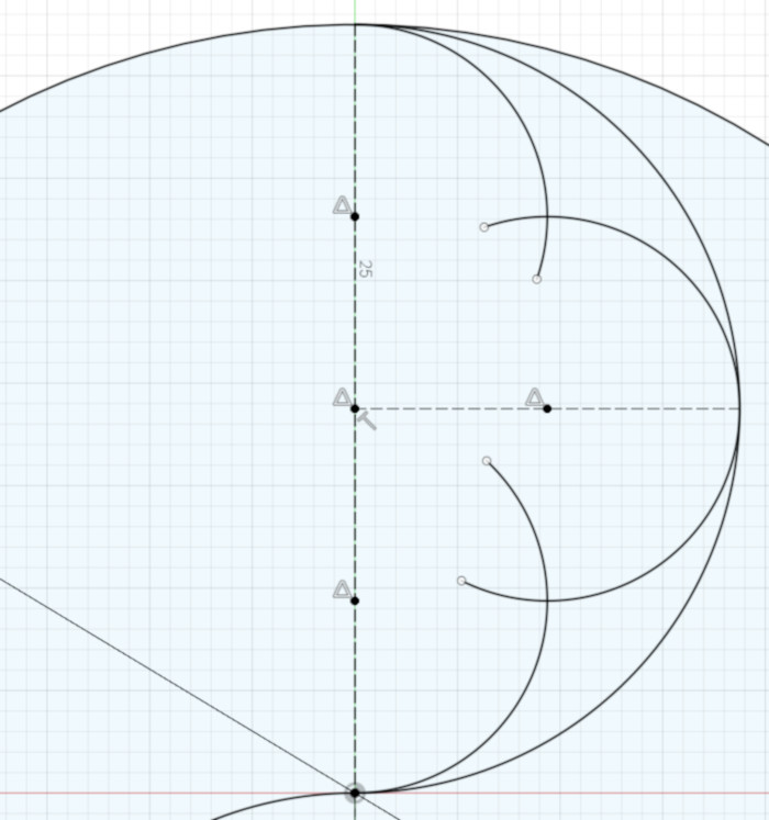 The three arcs that divide the semicircle