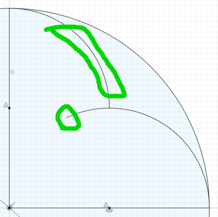 Step Two: make the second end point coincident with the first arc