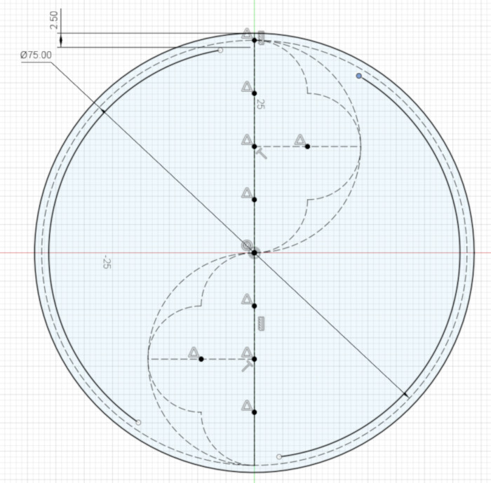 The thickened outer circle of the design
