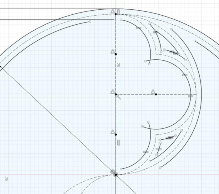 The thickened three small arcs
