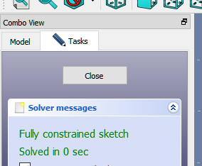 The Solver reports that our Sketch is Fully Constrained