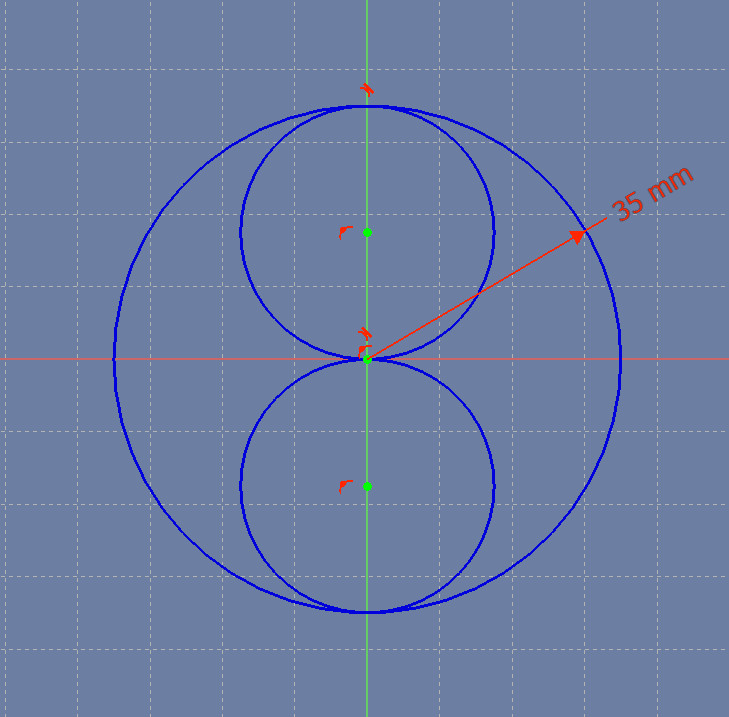Two tangent circles inside the larger circle