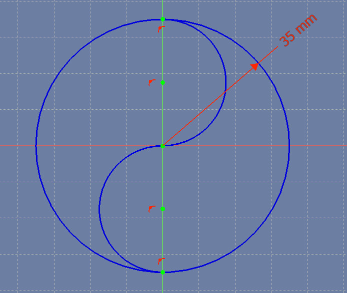 Two fully-constrained arcs within the larger circle