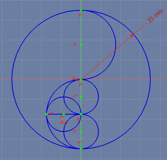 Three circles within the lower semicircular arc