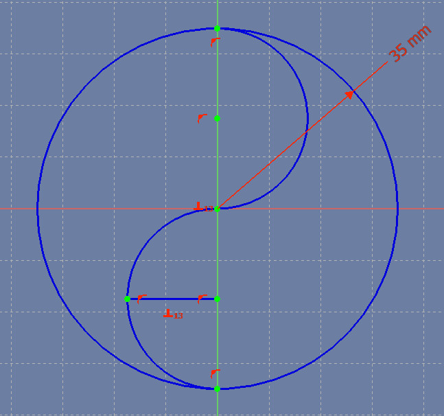The line constrained to cut the semicircle in half