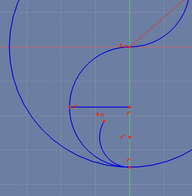 The first of three arcs has an endpoint that can be moved freely