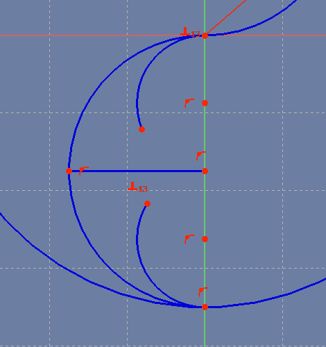Two arcs within the semicircle. The Sketch has two degrees of freedom