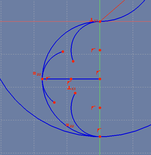 Three arcs, with 4 degrees of freedom (the four movable endpoints)