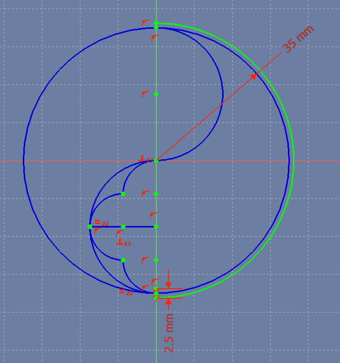 The first arc of the object. The arc is green, showing that the Sketch is fully constrained