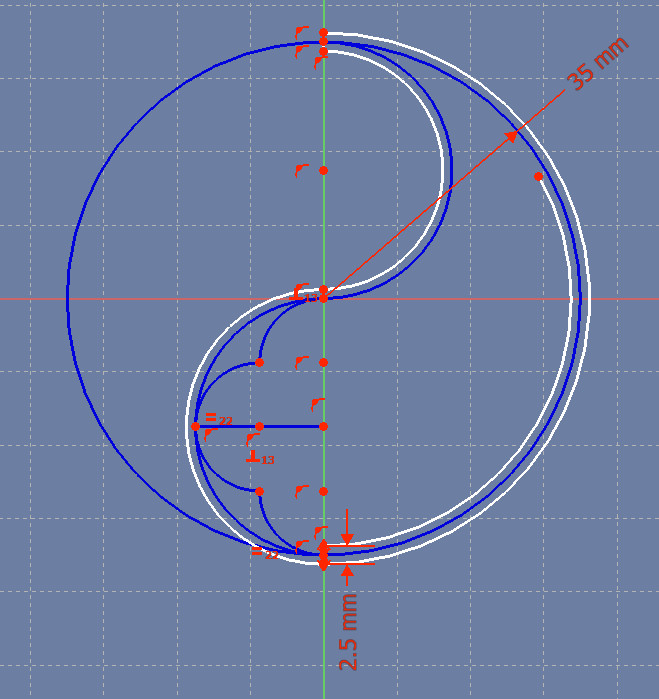 We've created the first arc of the inside outline of the design