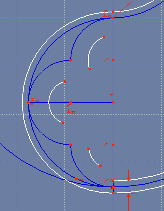 Three small arcs