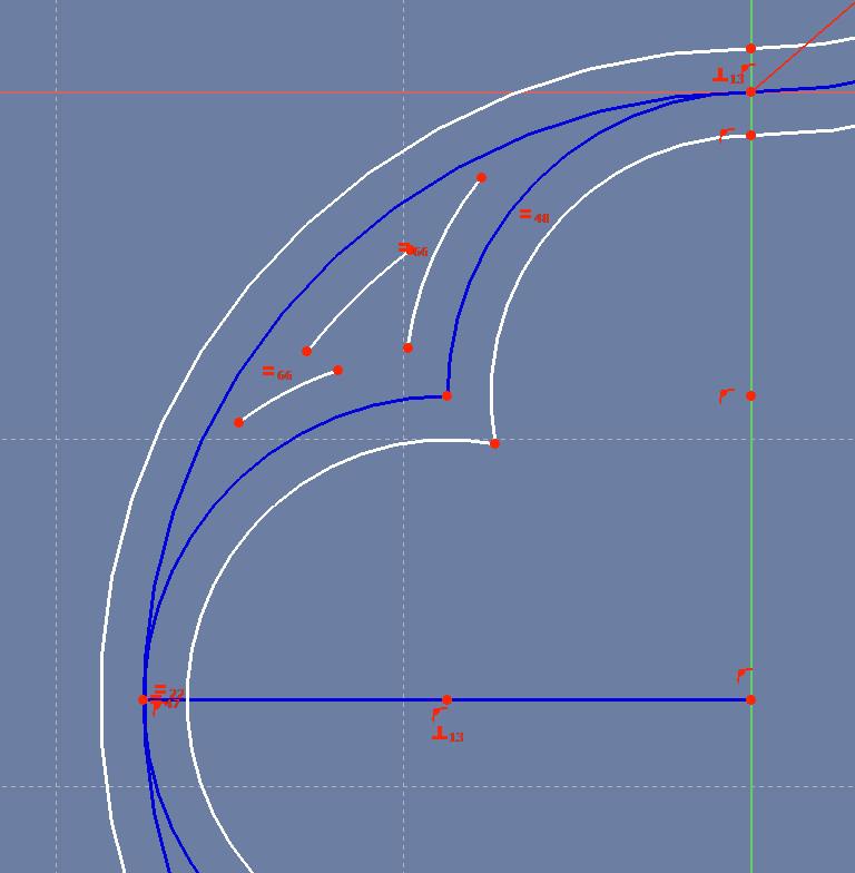 The upper triangular space's arcs