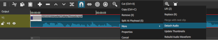 Detaching the audio from the video