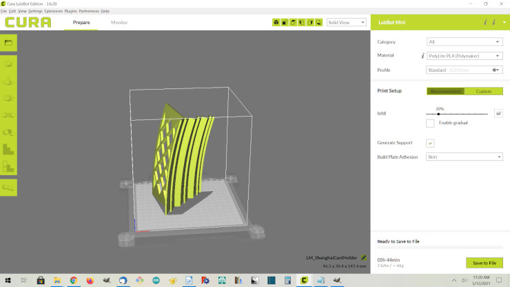 Using Cura to make a .gcode file for printing